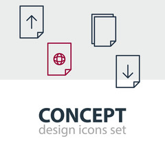 Vector Illustration Of 4 Paper Icons. Editable Pack Of Internet, Upload, Download And Other Elements.