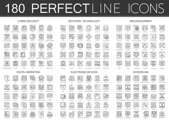 180 outline mini concept infographic symbol icons of cyber security, network technology, web development, digital marketing, electronic devices, 3d modeling.
