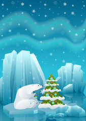 Vector illustration of cute polar bear sitting in ice and decorating Christmas tree with ball. Winter arctic ice landscape with iceberg.