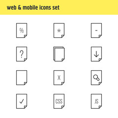 Vector Illustration Of 12 Paper Icons. Editable Pack Of Remove, Basic, Percent And Other Elements.