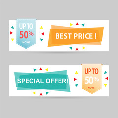 Flat geometric discount tags vector banners.
