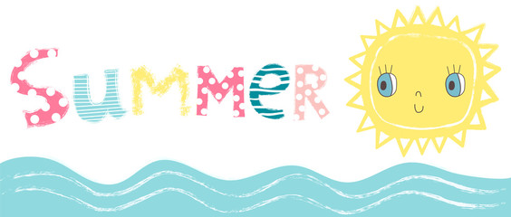 Cute vector background with the word summer, a cute sun and sea waves on white