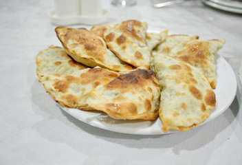 The qutabs traditional dish of Azerbaijan. Oriental cuisine. Made from thinly rolled dough with camel meat