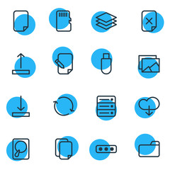 Vector Illustration Of 16 Storage Icons. Editable Pack Of Parole, Flash Drive, Gallery And Other Elements.
