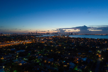 Aerial twilight photo Miami and Biscayne Bay
