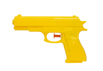 Plastic spray gun, yellow, white background