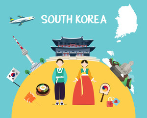 Traveling to South Korea with landmarks and map