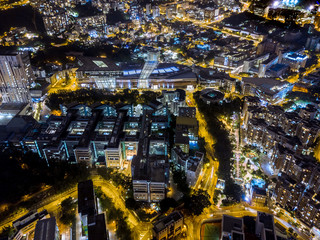 Fotomurales - Aerial view of Low density area of Hong Kong at night