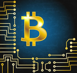 Coin bitcoin on electronic circuit background. Crypto currency.