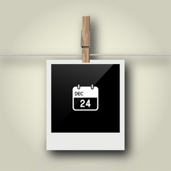 Sofortbild mit Symbol an Wäscheleine - 24.12.