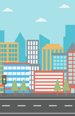 Background of modern city and a road vector flat design illustration. Vertical layout.