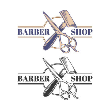 Colored and monochrome hairdressers scisors and safety razor engraved vector isolated on white background. Hairdressing and shaving tool or equipment illustration for barber shop emblem in retro style