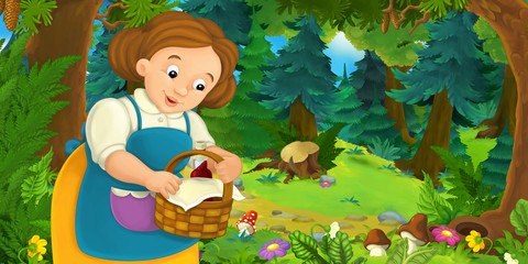 Cartoon background of a woman in the forest - illustration for children