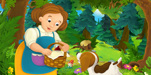 Cartoon background of a woman and a dog in the forest - illustration for children