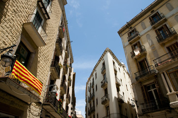 Catalonian Flag on Balcony - Barcelona - Spain