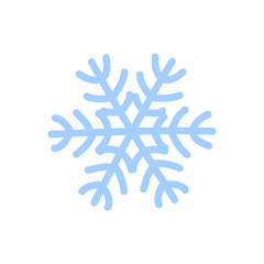 Snowflake icon. Blue silhouette snow flake sign, isolated on white background. Cartoon design. Symbol of winter, frozen, Christmas, New Year holiday. Graphic element decoration. Vector illustration