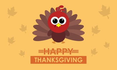 Happy thanksgiving day card with turkey bird in trendy style for greeting card, celebration card, invitation card, wallpaper, background, website banner