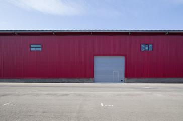 red metal warehouse with gates,garage