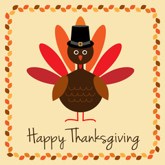 Happy Thanksgiving with turkey and pilgrim hat