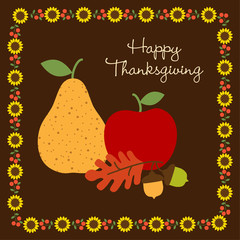Happy Thanksgiving with with fruit and sunflower border