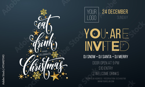 Christmas Invitation Background Gold.Christmas Party Invitation Poster Template Of Golden