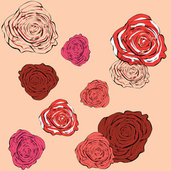 Pink background with outline roses