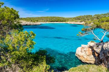Fototapete - Beautiful Beach of Cala S'Amarador at Mondrago - Natural Park on Majorca Spain, Balearic Islands, Mediterranean Sea, Europe