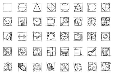 draw sketch icons set pictures of items for  buttons on a site