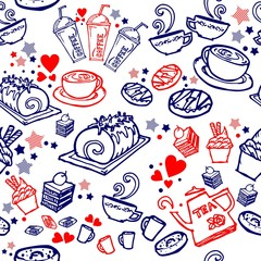 various coffee,cake,cupcake,Sandwich,cookie , appetizer and beverage seamless pattern sketch drawing line by red and blue pen vector with white background