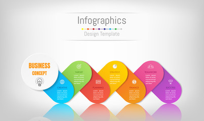 Infographic design elements for your business data with 7 options, parts, steps, timelines or processes. Vector Illustration.