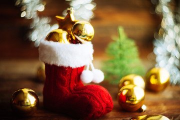 Christmas decoration with Santa's boot and Christmas tree balls
