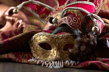 Old carnival masks .