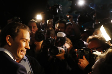 OeVP top candidate Kurz arrives for a TV discussion in Vienna