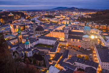 Panoramic view from Salzburg Fortress at sunset, Austria
