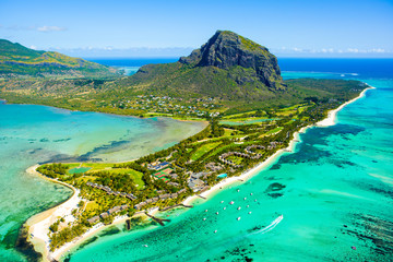 Wall Murals Green coral Aerial view of Mauritius island