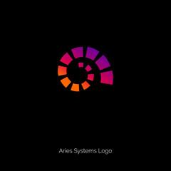 Spiral logo. Aries emblem. Zodiac logo. Helix symbol.