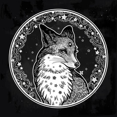 Fox on the background of the moon.