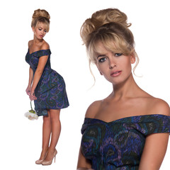 portrait of a beautiful blonde woman in retro dress 50-s style .