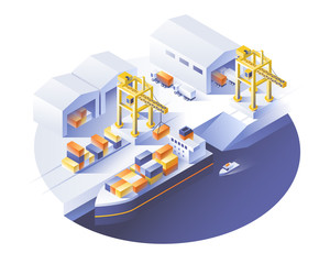 Delivery service concept. Container cargo ship loading, truck loader, warehouse. Isometric vector illustration.