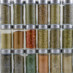 Colorful Herbs and Spices in Jars