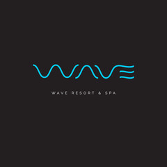 Wave line spa logo. W letter. Thin wavy letters on a dark background.