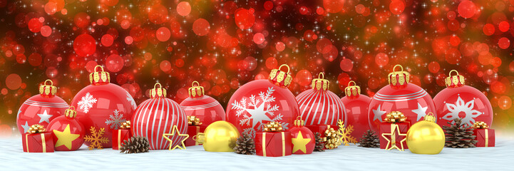 many red and golden christmas baubles and christmas decorations over bokeh background - panorama - merry christmas concept