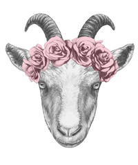 Portrait of with floral head wreath. Hand-drawn illustration.