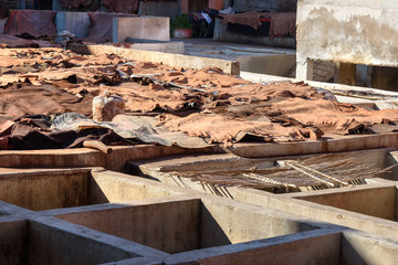 Leather drying in traditional tannery. Marrakech. Morocco