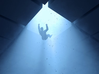 man falling into a hole
