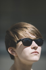 androgyne with sunglasses