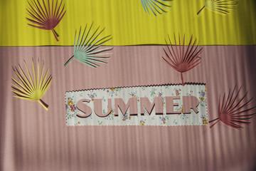 Palm leafs, word summer in striped shadow