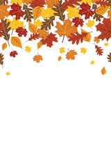 Bright Falling Fall Autumn Leaves Repeating Vertical Border 1
