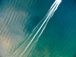 Overhead view of a boat's wake