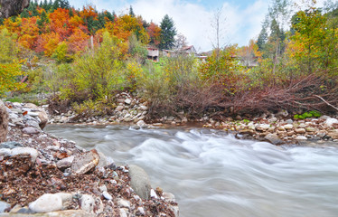 autumn landscape of Karditsa forest with river Thessaly Greece - long exposure photography